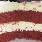 Cross section of the final red velvet cheesecake