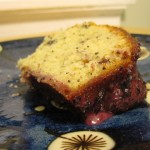 Slice of Wild Blueberry Lemon Poppy Seed Cake with Wild Blueberry Glaze