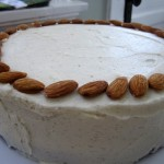 Almond Cake, Vanilla Bean Buttercream, Whole Almond Garnish