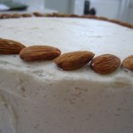 Whole Almond Cake with Vanilla Bean Buttercream & Almond Garnish
