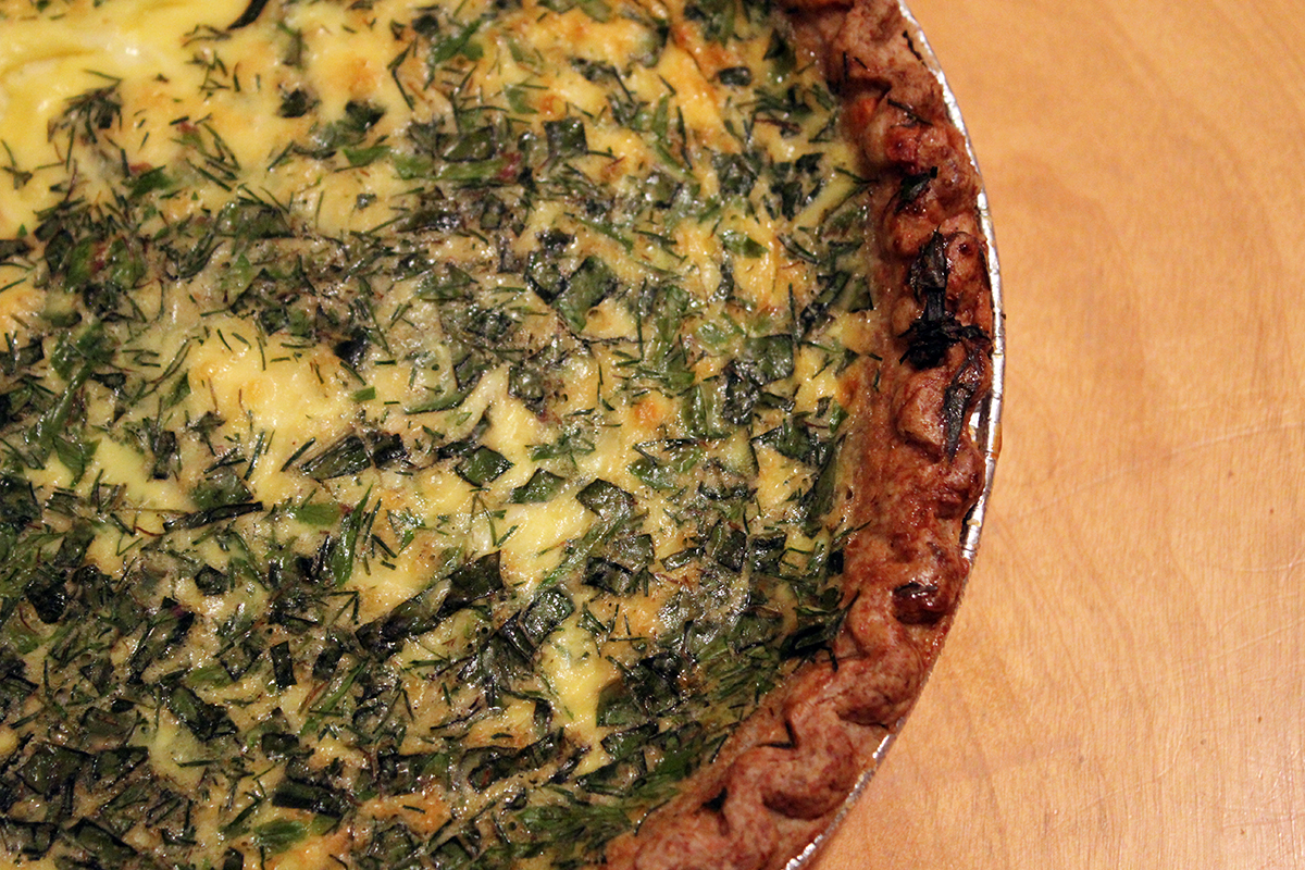Baked Goat Cheese & Herb Quiche